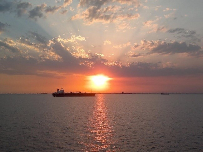 tanker sunset