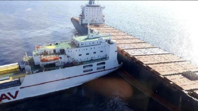 Two merchant ships collide in the Mediterranean Sea