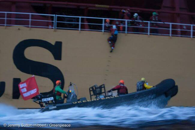 Six Greenpeace Activists Arrested On Board Ship Loaded With Palm Oil