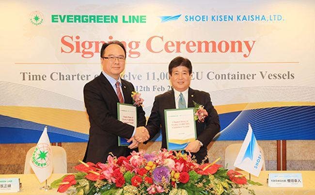 Mr. Anchor Chang / Chairman of Evergreen Line & Yukito Higaki/President of Imabari.