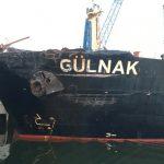 Damage to port bow of Gülnak