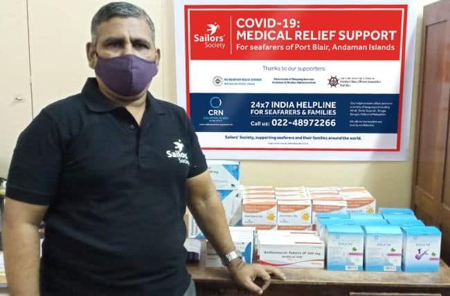Manoj Joy, Sailors' Society's Community Development Manager, with some of the medicine being sent to the seafarers in Port Blair