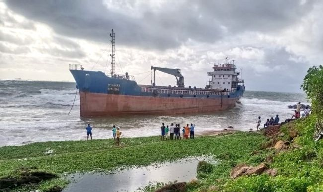 Bangladeshi Merchant Ship Runs Aground On Vizag Beach