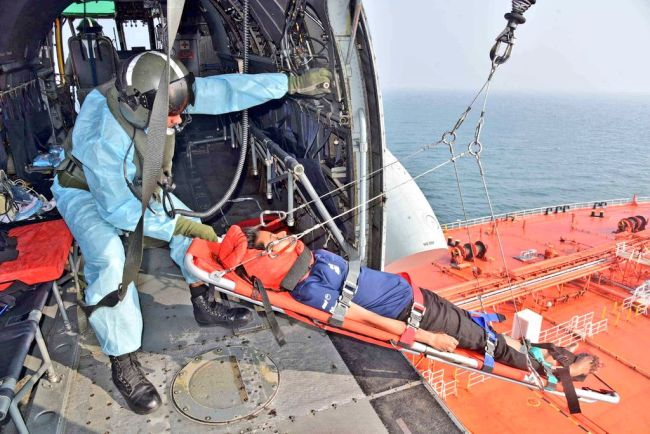 IndianNavy Seaking helicopter responding to a medical emergency by a Singaporean merchant ship MV Eagle Tampa