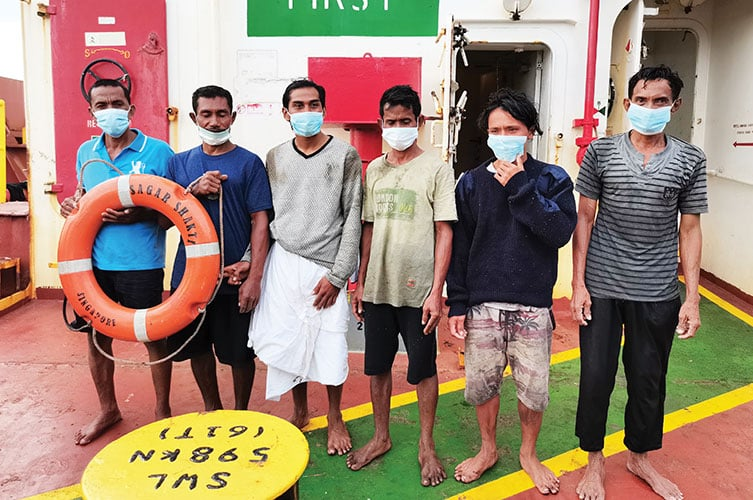 The Indonesian castaways rescued and returned home by Tata NYK Vessel MV Sagar Shakti