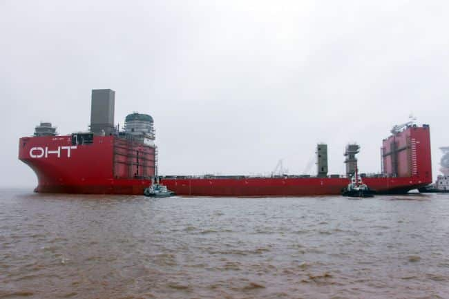 Launching of the semi-submersible foundation installation vessel 'Alfa Lift', photo courtesy of CMHI