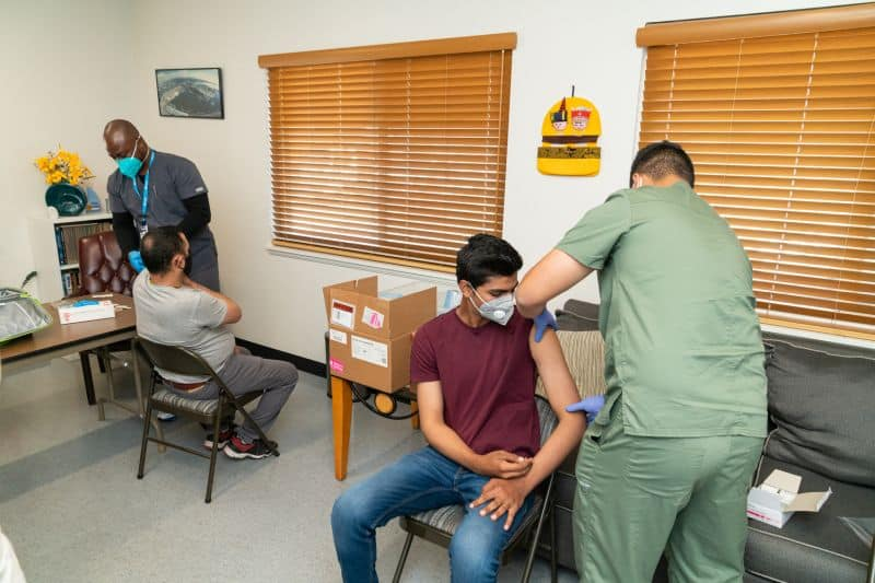 More than two dozen crew members of the Algoma Victory traveled to the International Seafarers Center in the Port of Long Beach to receive the Johnson & Johnson COVID-19 vaccine on May 25, 2021.