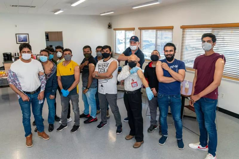 More than two dozen crew members of the Algoma Victory traveled to the International Seafarers Center in the Port of Long Beach