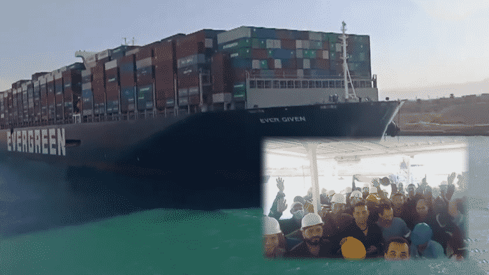 Suez Canal Workers Celebrate Refloating of Ever Given