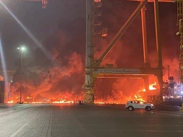 Blast and Fire in Dubai Port
